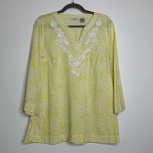 Tantrums blouse yellow embroidery boho size medium